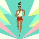 Dynamic running girl on decorative background. Dynamic running girl with dark skin on decorative background. Sport and healthy lifestyle illustration for your Stock Images