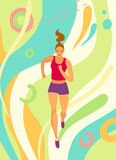 Dynamic running girl on decorative background. Sport and healthy lifestyle illustration for your design Stock Images