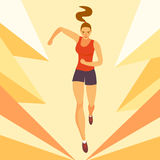 Dynamic running girl on decorative background. Sport and healthy lifestyle illustration for your design Stock Photos