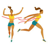 Dynamic running girl winner set. Dynamic running girl crossing finish line set. Front and side view. Sport and healthy lifestyle illustration for your design Stock Photo