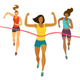 Dynamic running girls crossing finish line. Competition event. Sport and healthy lifestyle illustration for your design Royalty Free Stock Image