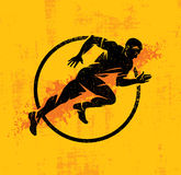 Dynamic Running Man Vector Illustration On Grunge Rough Background With Color Splash Stock Photography