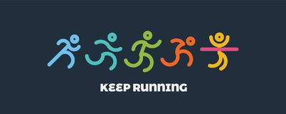 Dynamic running people set. Sport and healthy lifestyle illustration for your design. competition and finish. Vector illustrtion royalty free illustration