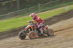 Dynamic shot of Quad racer riding Royalty Free Stock Images
