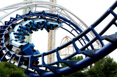 Roller Coaster. Dynamic shot of roller coaster with a coaster train Stock Photography