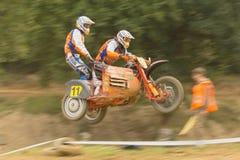 Dynamic shot of sidecar jump Royalty Free Stock Photos