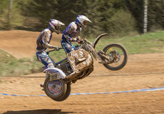 Dynamic shot of sidecar jumping Royalty Free Stock Photography