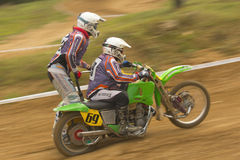 Dynamic shot of sidecar racers Royalty Free Stock Photo