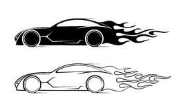 Dynamic silhouette of the car, icon automotive topics Royalty Free Stock Images