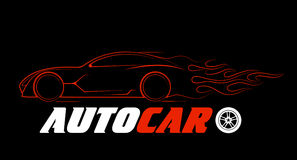 Dynamic silhouette of the car, logo automotive topics Royalty Free Stock Photography