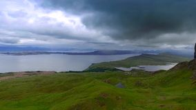 Dynamic sky over valley in Old man storr mountain, Scotland stock video footage