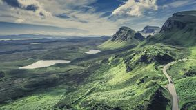 Dynamic sky over valley in Quiraing, Scotland, United Kingdom, 4k, timelapse stock footage