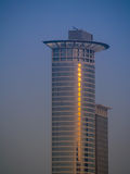 Dynamic skyscraper in the early morning light in Frankfurt, Germ Stock Image