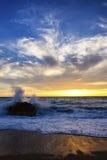 Dynamic sunset. A spectacular sunset on Gialos beach, Lefkada Greece royalty free stock photography