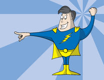 Dynamic Super Hero. Super hero in blue and yellow tights with cape striking a dynamic pose Royalty Free Stock Photography