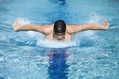 Dynamic swimmer in cap breathing performing the bu Royalty Free Stock Photos