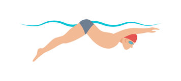 Dynamic swimmer pool sport vector illustration. Stock Photography