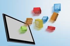 Dynamic Tablet computer illustration Stock Photos