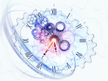 Dynamic of time. Gears, clock elements, dials and dynamic swirly lines arrangement suitable as a backdrop in projects on scheduling, temporal and time related Royalty Free Stock Photos