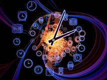 Dynamic of time. Gears, clock elements and abstract design elements arrangement suitable as a backdrop in projects on scheduling, temporal and time related Stock Images