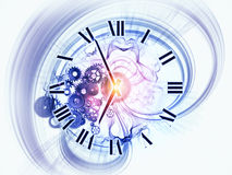 Dynamic of time. Gears, clock elements, dials and dynamic swirly lines arrangement suitable as a backdrop in projects on scheduling, temporal and time related Royalty Free Stock Images
