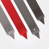 Dynamic vector template. Folded paper arrows with much space for. Your content. Four different colors. Fou choices, levels, variations. Clear and modern design stock illustration