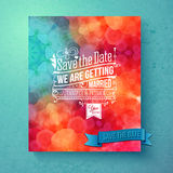Dynamic vibrant Save The Date wedding invitation Stock Images
