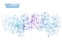 Dynamic waves technology concept. Abstract data flow background with letters code. Stock Image
