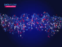 Dynamic waves technology concept. Abstract data flow background with letters code. Stream information Stock Photo