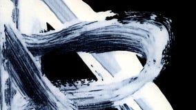 Dynamic White brush strokes on black background zen style background and texture Stock Photo