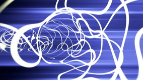 Dynamic white strokes tunnel with blue rays, stock footage. Video stock video footage