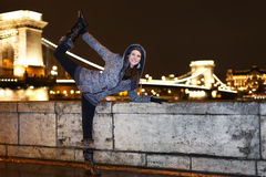 Dynamic woman posing in Budapest Royalty Free Stock Photo