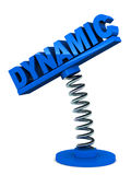 Dynamic. Word on a spring loaded holder on white background, blue text, concept of business dynamism and personal flexibility Stock Photo