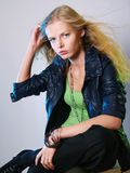 Dynamical portrait of the fashionable girl Stock Photography