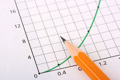 Dynamics. The schedule marking dynamics of development and a pencil Royalty Free Stock Photo