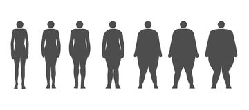 Dynamics adiposity of human. Dynamics adiposity at human. How a man get fat Stock Images