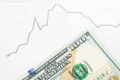 Dynamics of exchange rates. Dollar and euro chart Royalty Free Stock Photo