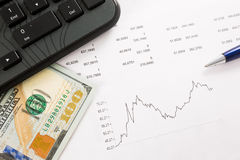 Dynamics of exchange rates. Dollar and euro chart Royalty Free Stock Photography