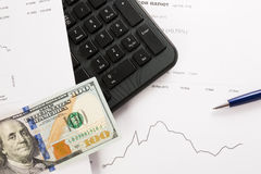 Dynamics of exchange rates. Dollar and euro chart. Royalty Free Stock Photography