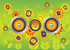 Dynamics flowers. Dynamics in the middle of yellow flowers. A  illustration Stock Photo