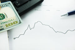 Dynamics Of Exchange Rates. Dollar And Euro Chart. Royalty Free Stock Photo