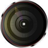 Dynamiczna kamera len z kolorów światłami również zwrócić corel ilustracji wektora royalty ilustracja