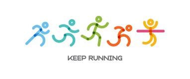 Dynamiczni bieg ludzie ustawiający Sport i zdrowa styl życia ilustracja dla twój projekta rywalizacja i koniec ilustracja wektor