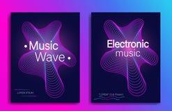 Dynamiczny gradientowy kształt Muzyczny ulotka projekt z abstrakcjonistyczną gradient linią macha Elektronicznej muzyki przyj?cie royalty ilustracja