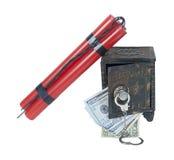 Dynamiet en Geld met een Uitstekende Brandkast en Handcuffs Stock Foto