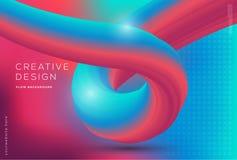 Dynamik des Flusses 3d formt Zusammensetzung mit Steigungsfarbhintergrund stockbild
