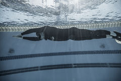 Dynamisch met Vinnen (dyne) Prestaties van Onderwater Royalty-vrije Stock Afbeeldingen