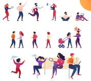 Dynamisch van het Levensouders en Kinderen Vlak Beeldverhaal stock illustratie