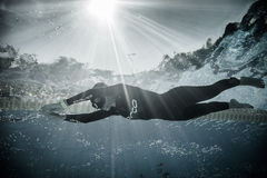 Dynamisch zonder Vinnen (DNF) Prestaties van Onderwater Stock Fotografie