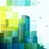 Dynamische cityscape in groen Stock Foto
